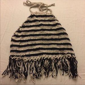 Black & cream crochet Halter Top